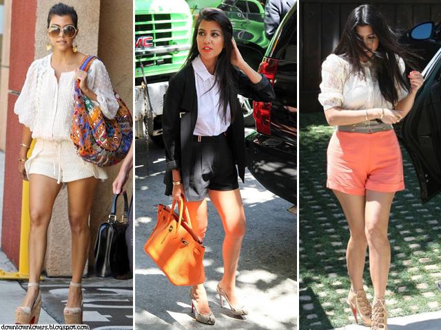 Estilo Kourtney Kardashian, Kourtney Kardashian, Kourtney Kardashian calções, Kourtney Kardashian shorts, Kourtney Kardashian cintura subida, Kourtney Kardashian acessórios, Kourtney Kardashian óculos, Kourtney Kardashian birkin