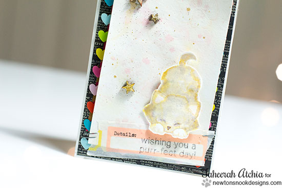 Watercolor Cat card by Taheerah Atchia for Newton's Nook Designs | Newton's Antics Stamp Set