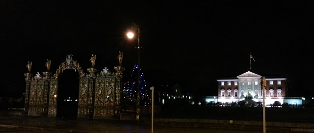 Warrington Town Hall with Golden Gates at Christmas 2012