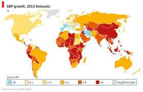 Crecimiento mundial 2013 mapa del mundo
