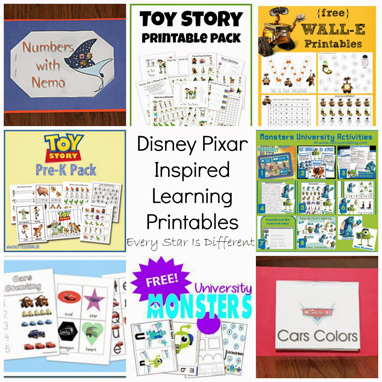 free disney inspired learning printable packs activities every star is different - Disney Cars Activities