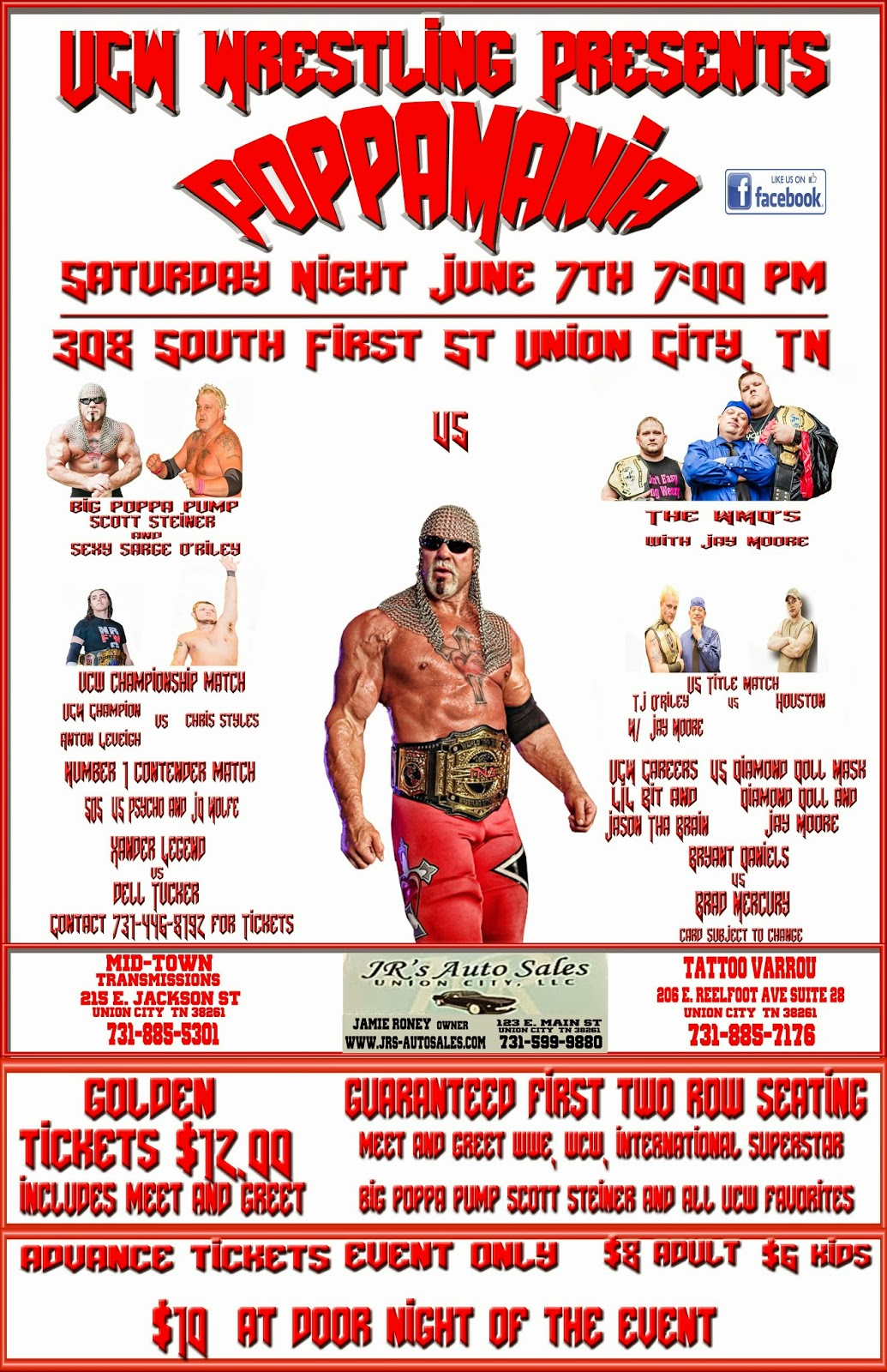 wrestling news center ucw union city tn final poppamania card announced for june 7th. Black Bedroom Furniture Sets. Home Design Ideas