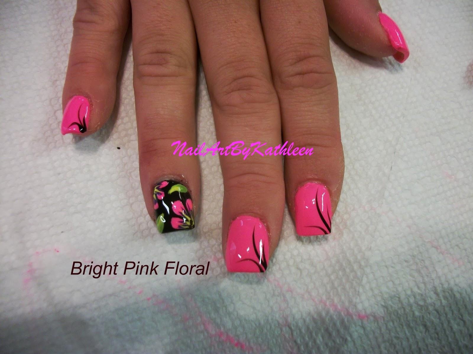 Nail Art By Kathleen: Bright Pink Floral Nail Art, Flower Nail Art ...