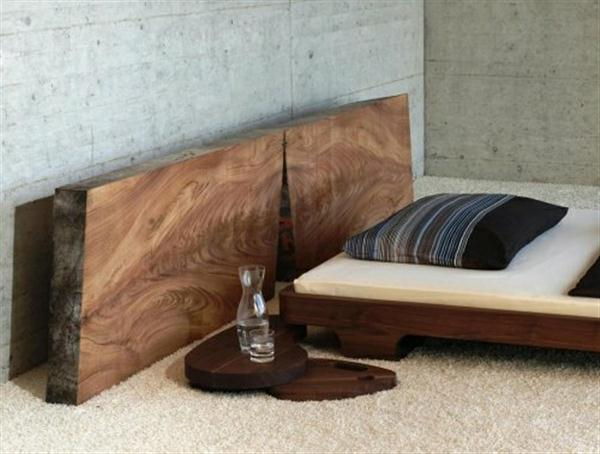Modern Wooden Bed Design : ... House Garden: Modern Rustic Solid Wood Bed Design with rounded table