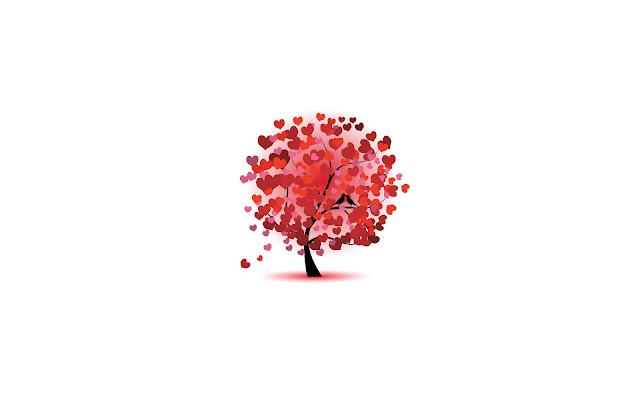 Afbeelding van een boom met rode liefdes hartjes