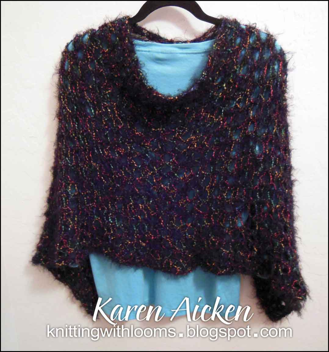Rectangular Loom Knitting Patterns : Knitting With Looms: Finished Poncho