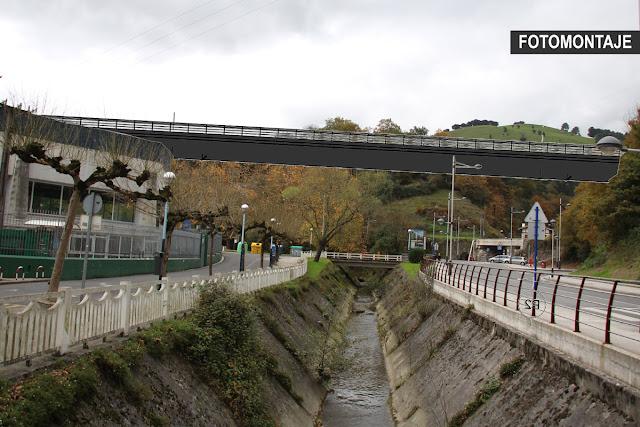 Fotomontaje del puente previsto en Gorostiza para el tráfico ferroviario de mercancías