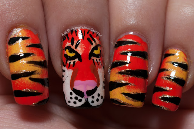 Orange Tiger nail art