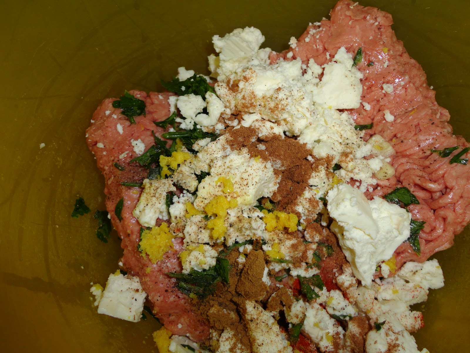 Greek Lamb and Feta Burgers Mixture