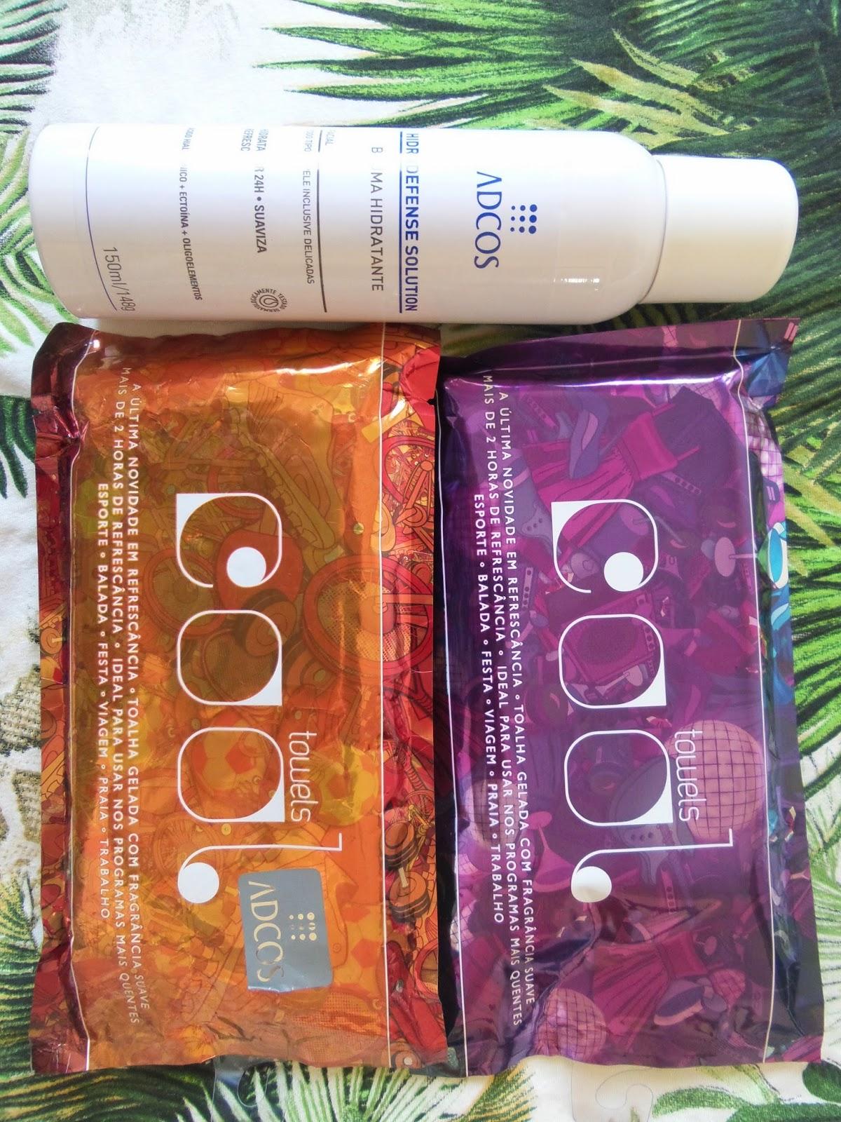 Bruma Hidratante   Hidradefense Solution Adcos,  Toalha Gelada:   Cool Towels Adcos