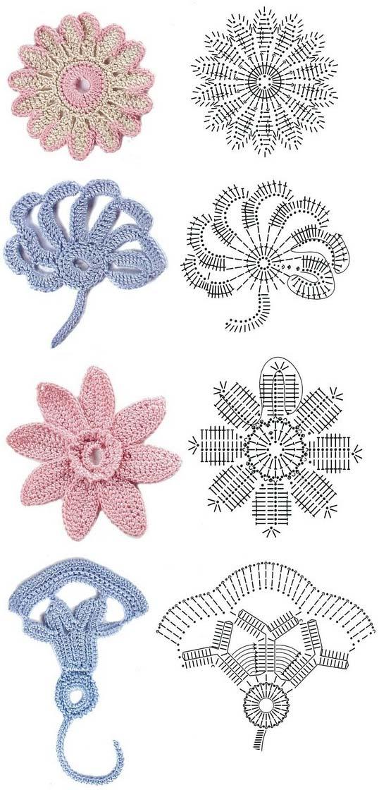 Crochet Simple Flower Diagram : Crochet flowers diagram 2