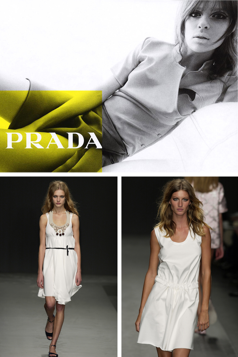 Prada Spring/Summer 2003 ad campaign / Elise Crombez by Steven Meisel / Natalia Vodianova & Gisele Bundchen at Prada Spring/Summer 2003 / The little book of Prada review, preview / best fashion books / Miuccia Prada short history / Italian fashion designers / fashion library / via fashioned by love / british fashion blog