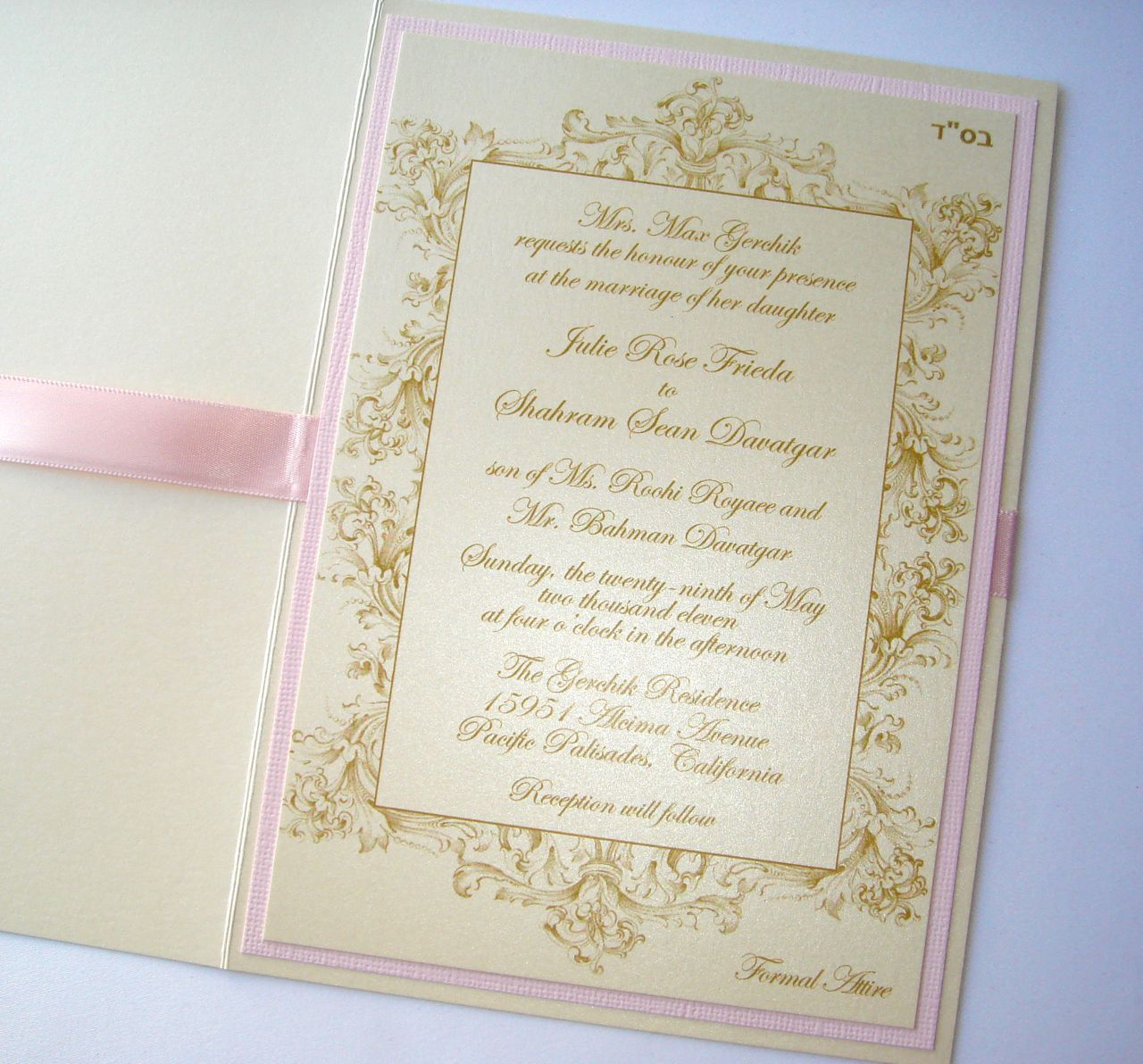 Vintage Champagne Gold and Blush Pink Wedding Invitation
