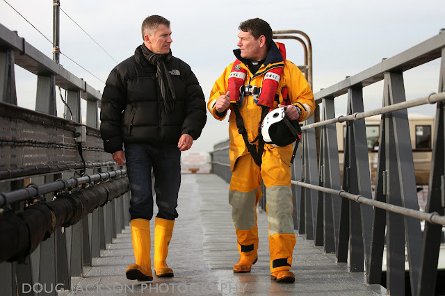 Chris Pilling ceo with Spurn Point coxswain David Steenvoorden