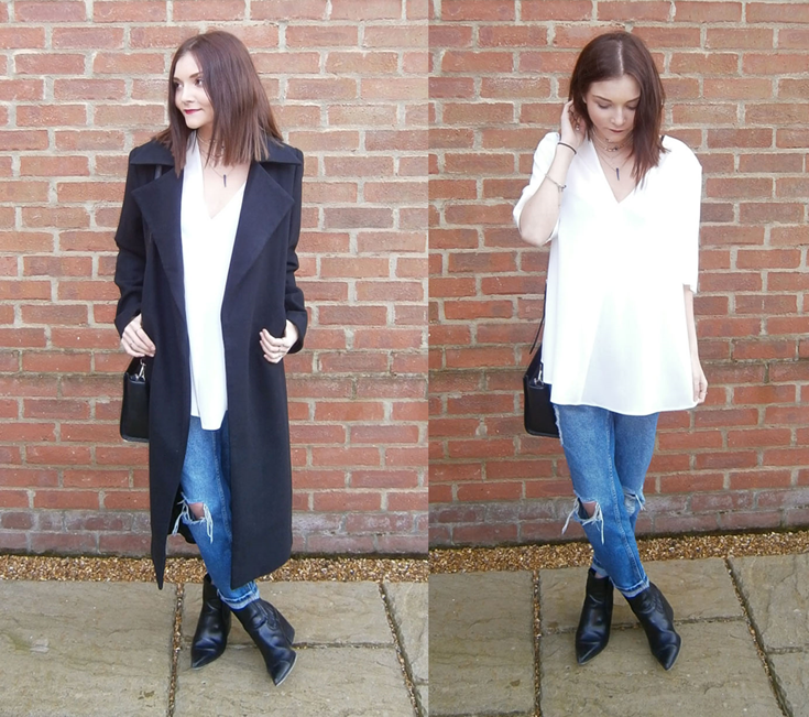 street style black duster coat fashion blogger