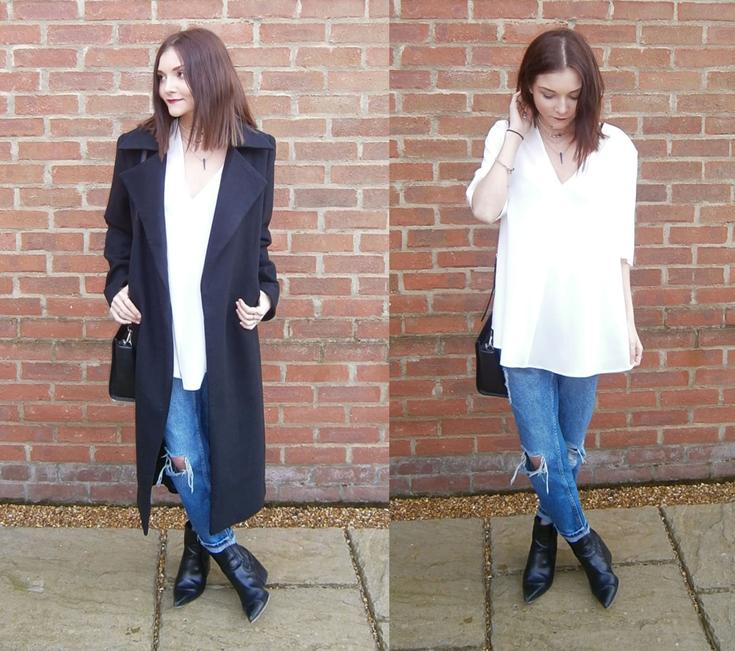 street style black duster coat fashion blogger