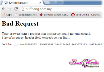 bad request bila open web nuffnang