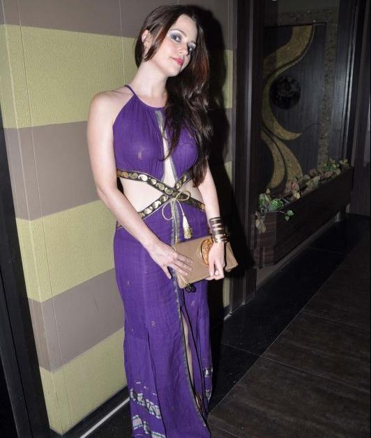 Hazel Keech Hot In Purple Dress