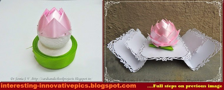 Diy decorative lotus out of thermocol ball for Craft model with waste material