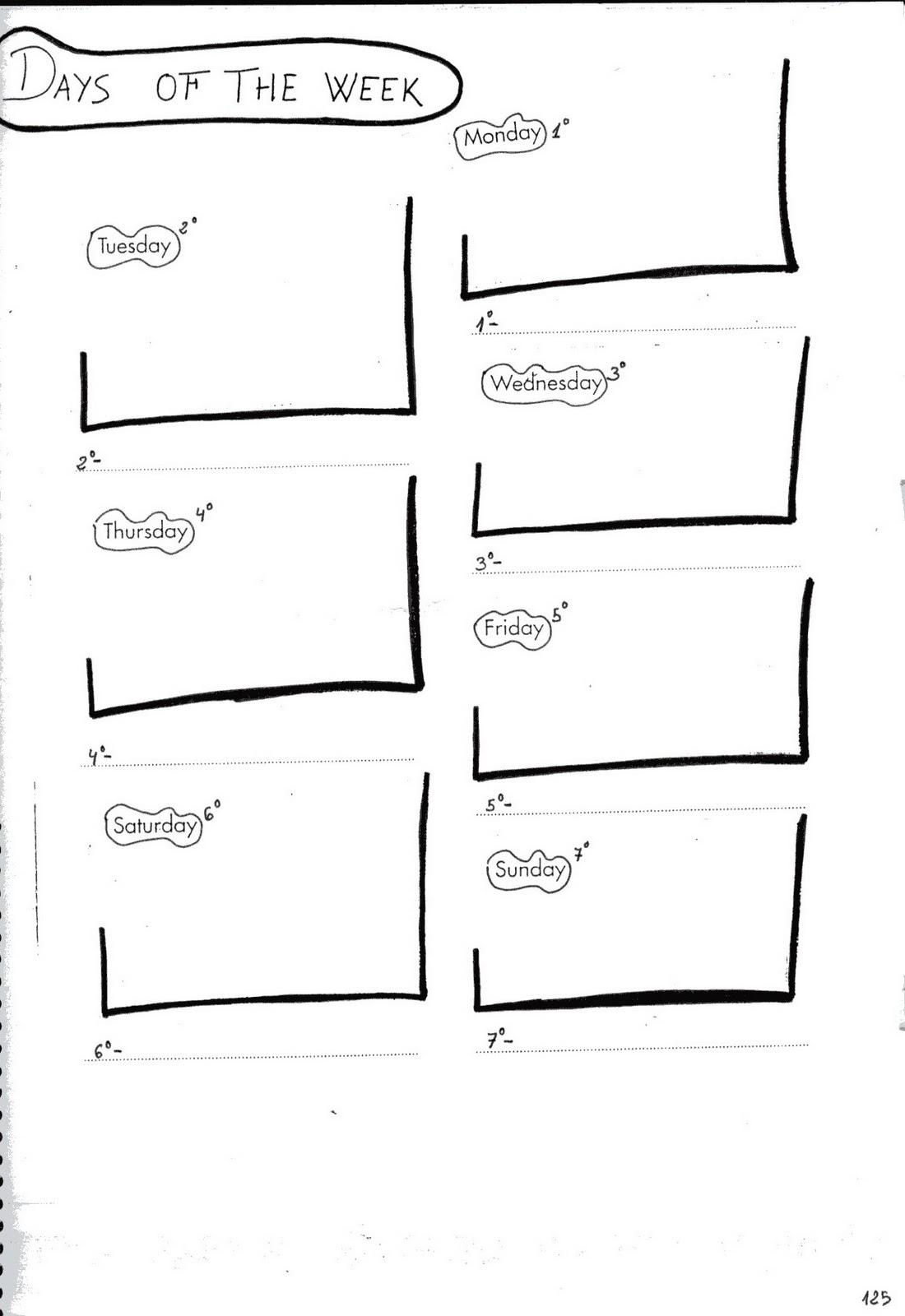 fichas de ingl s ficha days of the week 1 days of the week worksheets. Black Bedroom Furniture Sets. Home Design Ideas
