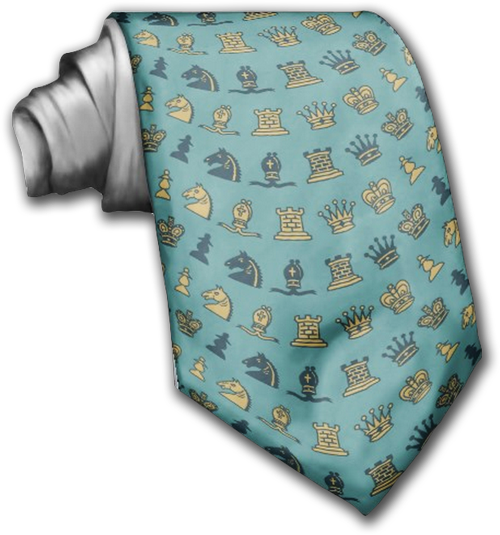 Chess Pieces in Waves Custom Tie by Tees2go
