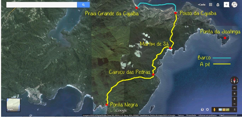 Mapa da Ponta Negra a Cajaíba, Travessia da Joatinga