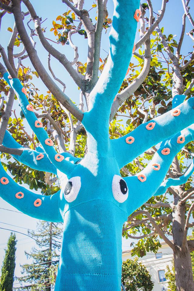Yarn Bomb Squid Tree - The Dapper Toad