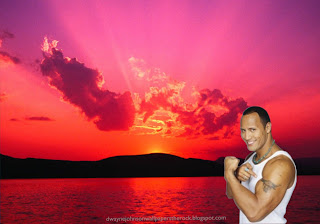 Dwayne Johnson Wallpapers The Rock shows biceps and tattoo in Sunset Landscape desktop wallpaper