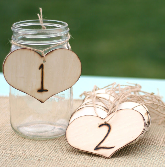 Mason Jar Wedding Ideas - Table Numbers with Wood Hearts