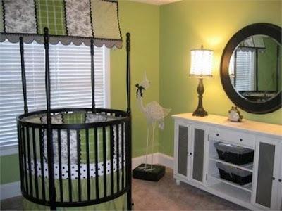 foto habitación bebé color verde