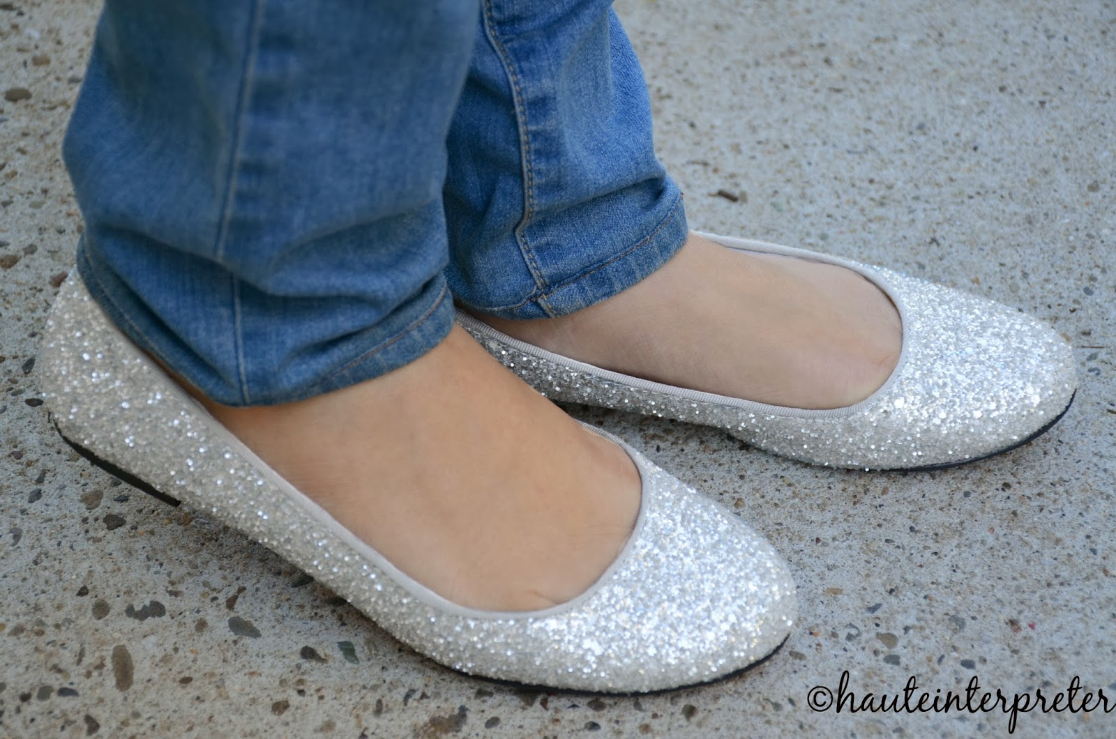 Sparkly Silver Shoes Flat