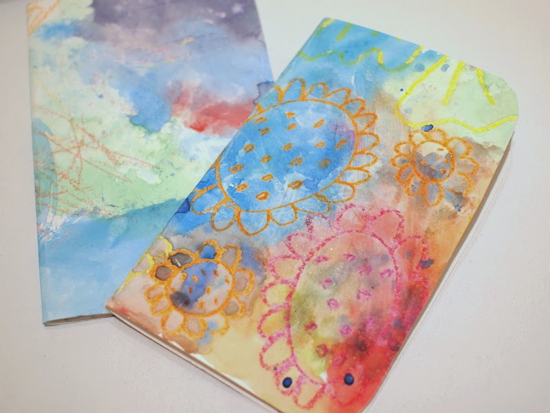 create watercolor and crayon resist notebooks