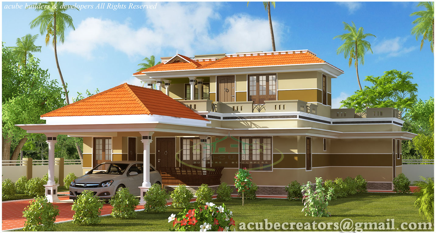 Beautiful 3 bedroom kerala house 1700 plan 134 for Three bedroom kerala house plans