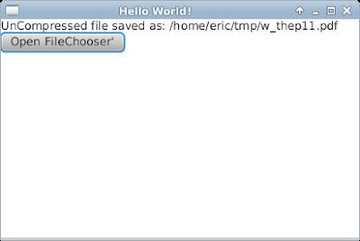 Decompress file (.gz) using java.util.zip, with JavaFX interface
