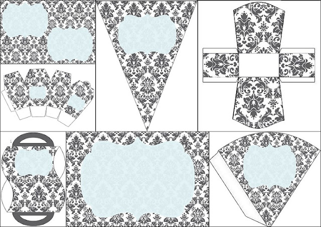 Grey Damasks in Light Blue: Free Printable Invitations, Party Printables and Boxes.