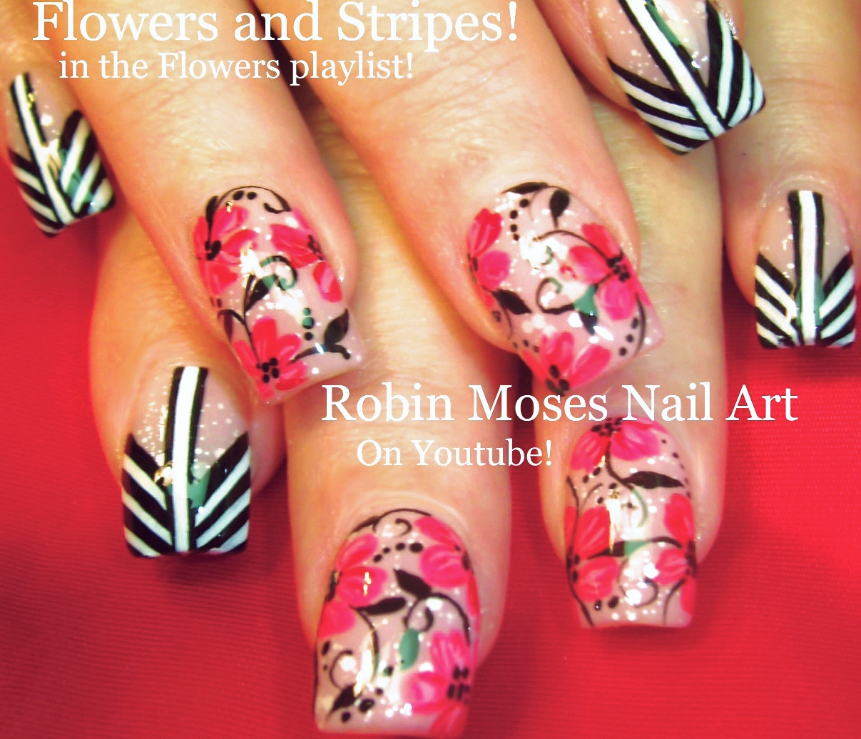 Robin Moses Nail Art February 2015: Nail Art By Robin Moses: DIY Fall Nails! Red Flowers On