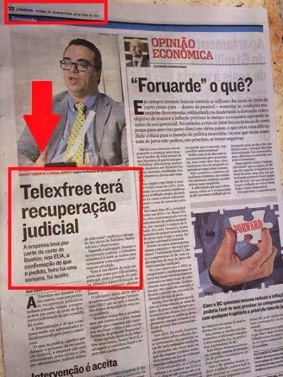 Jornal tribuna anuncia a vitória da Telexfree USA