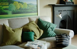 diseño de sala en verde
