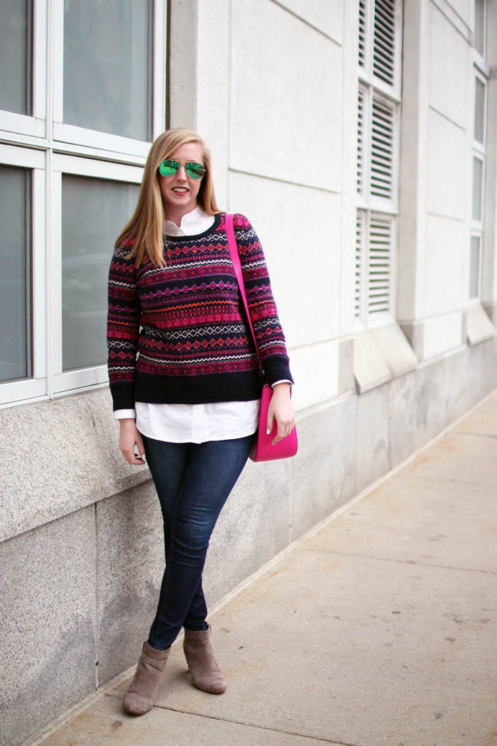 loft fair isle sweater, loft fairisle sweater, loft sweater, fair isle sweater, navy and pink fairisle sweater, boston fashion blogger, blogger fairisle sweater, blogger fair isle sweater