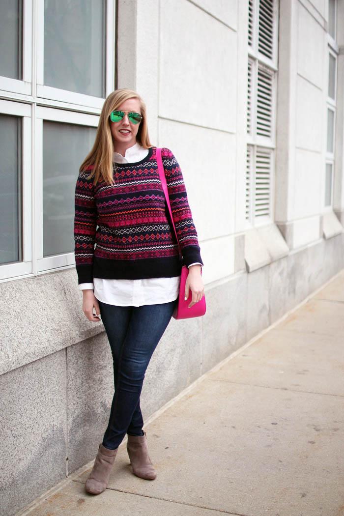 loft fair isle sweater, loft fairisle sweater, loft sweater, fair isle sweater, navy and pink fairisle sweater, boston fashion blogger, blogger fairisle sweater, blogger fair isle sweater