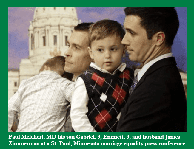 Dr. Paul Melchert and his son Gabriel, his husband James Zimmerman and son Emmett
