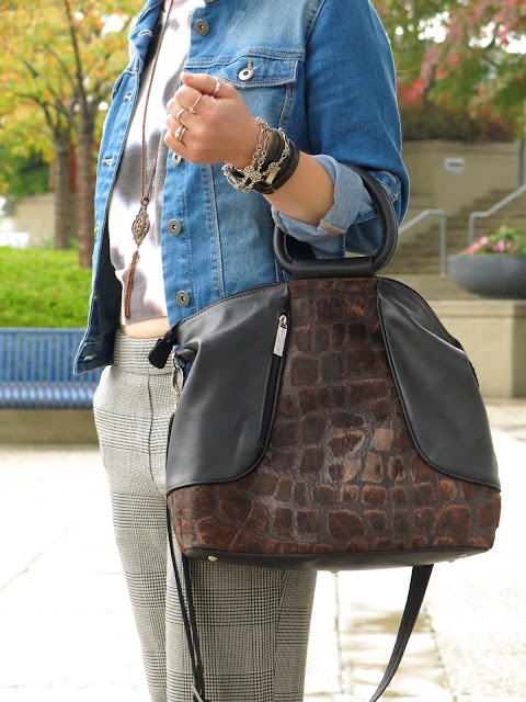slouchy plaid pants, cropped sweatshirt, denim jacket, and Matteo Mio bag