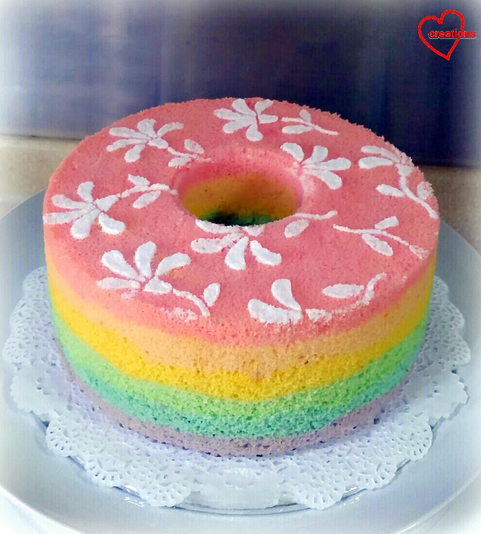 Loving Creations for You: Rainbow Chiffon Cake with Semi-painted ...