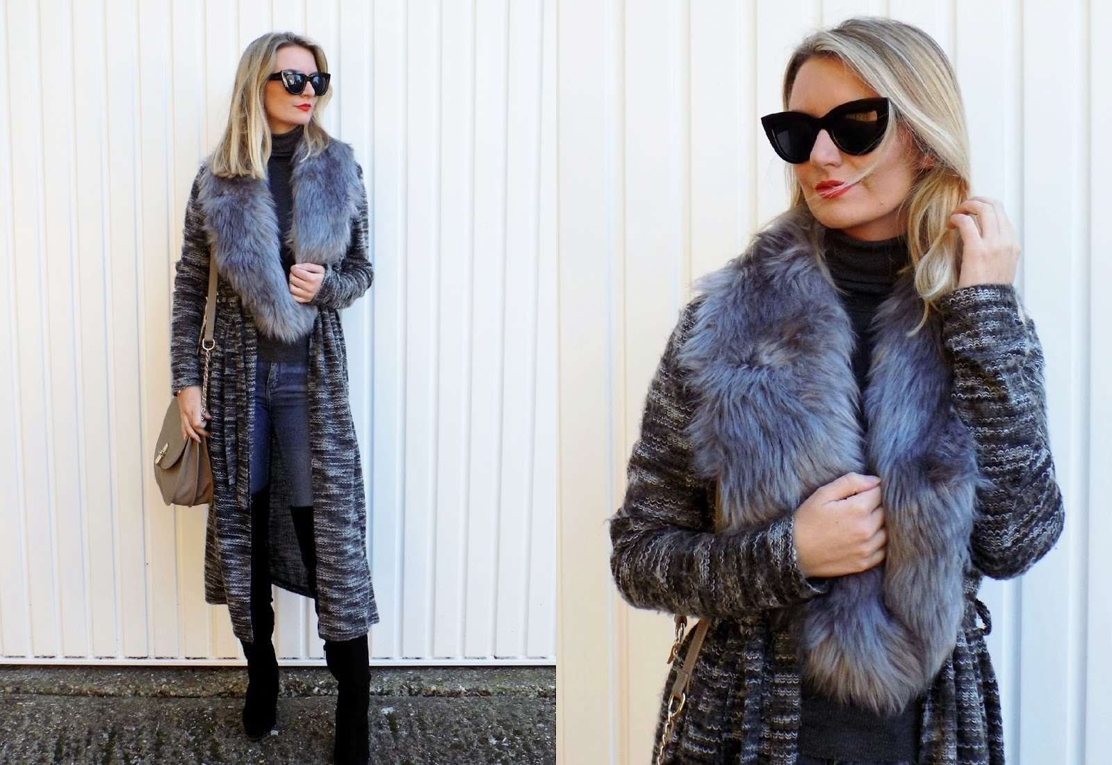 two images of maxi cardigan styles