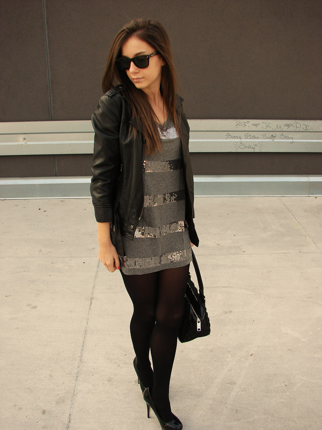 maya madanska from iheartmaya fashion blog wearing h&m grey sequins dress, asos black halo heels, topshop black leather biker jacket