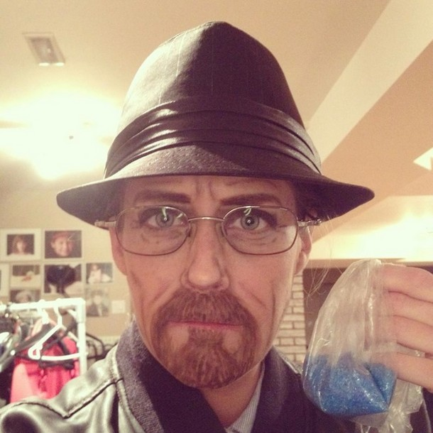 Carly Paige made up as Walter White