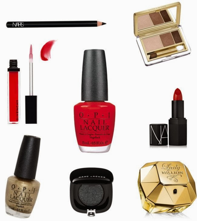 NARS Black Moon, Estee Lauder Amber Alloy, Givenchy Tempting Rouge, OPI True Red, NARS Jungle Red, OPI Glitzerland, Marc Jacobs Blacklight, Paco Rabanne Lady Million