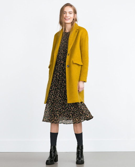 zara mustard coat, mustard hairy coat,
