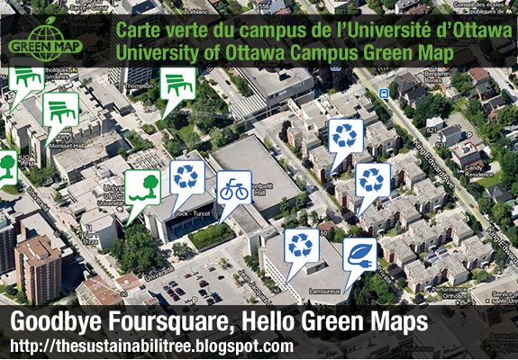 google map with check in icons for green elements on campus