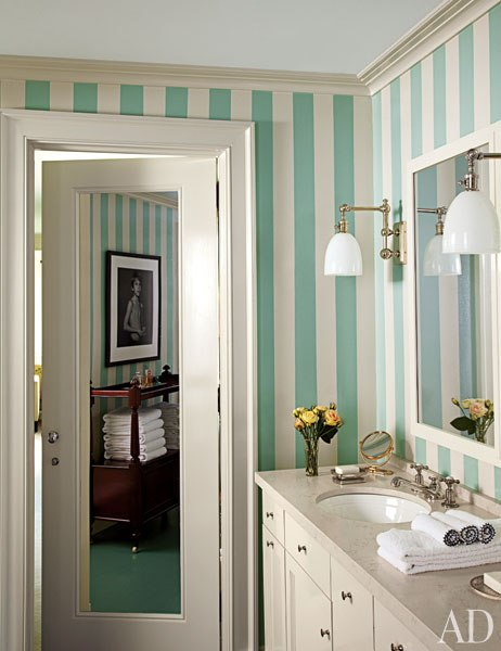 Striped bathroom by Miles Redd Architectural Digest